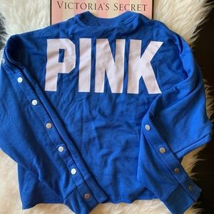 Pink Victoria's Secret long fleece crop crew